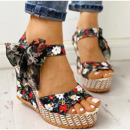 Summer Beach Boho Floral Wedge Sandals Women Ankle Strap Platform Gladiator Shoes Woman High Heels Sandalias Mujer 2020