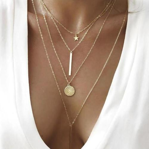 FNIO fashion multi-layer necklace ladies five-pointed star pendant necklace bohemian jewelry long personality new style 2018