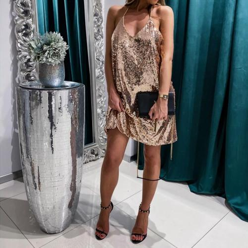 Sequins Dress Women 2020 Spring Summer V Neck Mini Dress Sleeveless Bling Sexy Ladies Party Dress Slim Fit Dresses vestidos D30