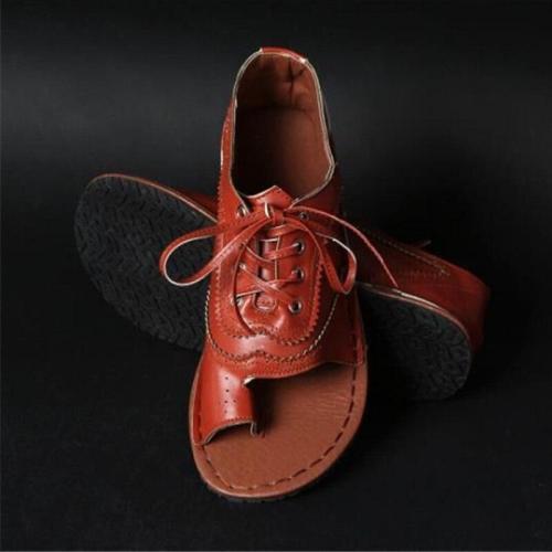 Women's Flat Sandals Lace Up Sewing Clip Toe Female Thong Shoes Pu Leather Ladies Sandalias Fashion Plus Size New Fashion
