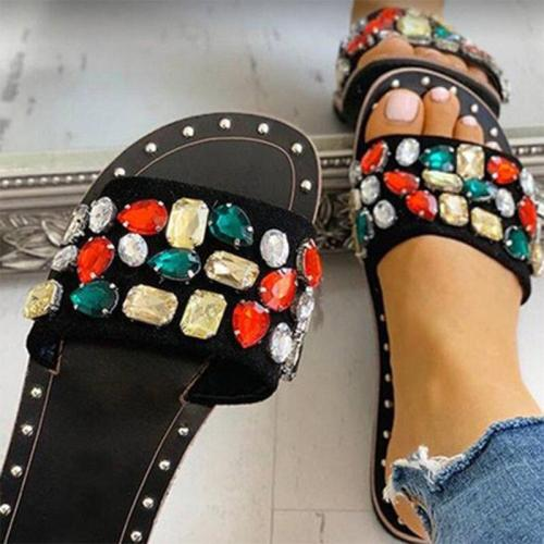 Women Gem Particle Rhinestone Slippers Rivet Female Flats Ladies Fashion Open Toe Slides Summer Woman Fashion Footwear Plus Szie