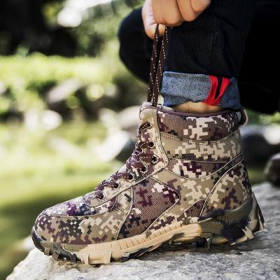 Camouflage Men plus size casual warm plush steel toe covers working safety cotton-padded shoes  winter snow fur boots male