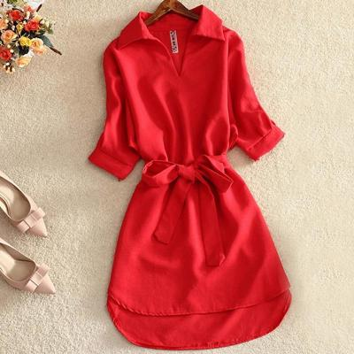 Shirts Women 2020 Summer Casual Dress Fashion Office Lady Solid Red Chiffon Dresses For Women Sashes Tunic Ladies Vestidos Femme