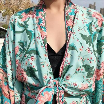 Boho Vintage  Floral Print Sashes short  Kimono Women 2020 New Fashion V Neck batwing Sleeves Ladies Blouses Casual Blusas