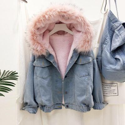2020 velvet thick denim jacket female winter big faux fur collar Korea denim  coat female student short coat