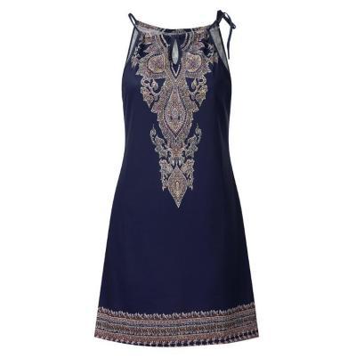 Women's dress 2020 Summer Halter Neck Boho Print Sleeveless Casual Mini Beach Sundress Vestido de senhora Drop Shipping