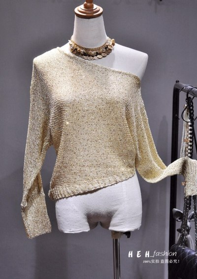 Autumn New Women Sexy Slash Neck One Shoulder All Sequined Long Sleeve Knitted Short Sweaters Pullovers Fashion Streetwear 2020