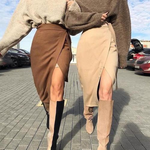 Foridol faux suede long skirt high waist sash a-line skirt streetwear vintage asymmetrical skirt autumn winter khaki maxi skirt