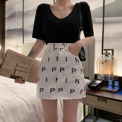 Letter Print Summer Pencil Skirts Women High Waist A-Line Elegant Vintage Casual Cotton Mini Skirts Hip Pop Streetwear 2020 W923
