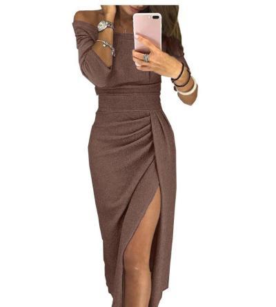 Women Fashion Bodycon Dress Off Shoulder Party Vestidos Sequined Clubwear Dress Sexy Split 2020 Female Pencil Dress