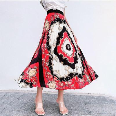 Flower Print Beach Boho Skirt Plus Size Long Maxi Skirt Summer Elastic Waist Pleated Skirt Korean Vintage Streetwear A-Line