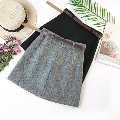 2020 Spring New Arrival Vintage Temperament High Waist A-line Office Skirts Womens With Belt Woolen Mini Skirt Free Shipping