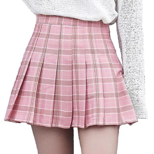 XS-3XL Harajuku 2020 Women Fashion Summer high waist pleated skirt Wind Cosplay plaid skirt kawaii Female Skirts