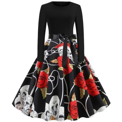 2020 Winter Christmas Bohemian Style Dresses Women Vintage Robe Sewing Elegant Party Dress Long Sleeve Casual Lace-up Dress