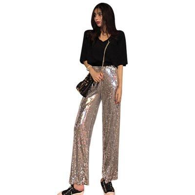 2020 Summer Fashion Streetwear Women Night Stadium Sequined Bulling Flash Beads Loose Leisure Wide Legs Long Pants
