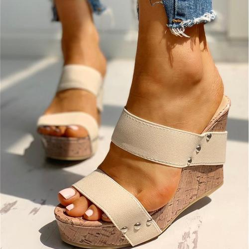 Women Slippers Home Stripe Female Summer Platform Wedge Heels Slides Ladies Woman Open Toe Shoes Footwear Sandals Plus Size 2020
