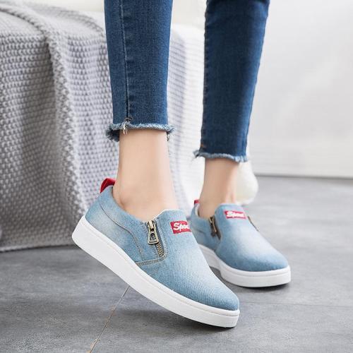 Flat shoes women Canvas shoes Plus size 35-44 Denim shoes women Platform Fashion Zipper Sneakers women Loafers women 2021 New