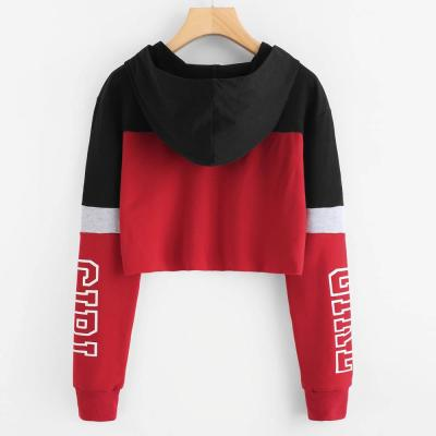 Contrast Letters Printing Sports Short Hoodie Fashion Womens Long Sleeve Sweatshirt Drawstring Jogger Gym Hooded Pullover Top#Y3