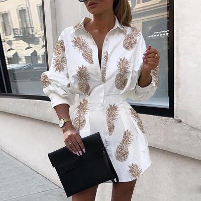 Summer Women Lantern Sleeve Shirt Dress Lady Tight Waist Turn Down Collar Chain Printing Long Sleeve Fashion Casual Button Dress