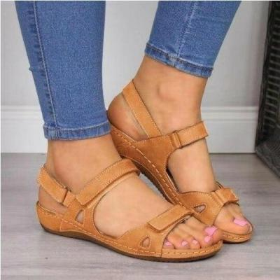 2020 Hot Sale Large Size 46 Open Toe Summer Sandals Woman Shoes Hook&loop Wedge Heels Comfortable Shoes Women Zapatos Mujer