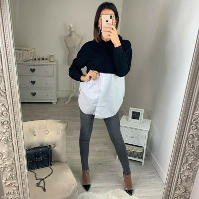 Women Casual Patchwork Hooded Long Sleeve Sweatshirt Stitching Pullover Tops Shirt Blouse Loose Casual Shirt Tops Autumn Clothes