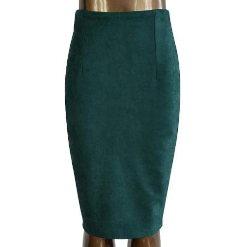 2020 Sexy Suede Midi Pencil Skirt Women Solid Color Fashion Vintage Split Elastic High Waist Office Lady Bodycon Skirts Saias