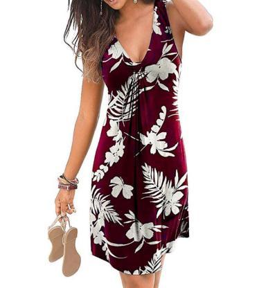 Fashion 2020 New Casual Women Dress Sleeveless Floral Print Loose Summer Dress Robe Femme Rte Sexy Dress Plus Size S-5XL