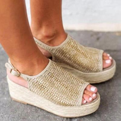 Women Sandals Retro Platform Sandals With 6CM High Heels Wedges Shoes For Women Plus Size 43 Hemp Summer Sandals Zapatos Mujer