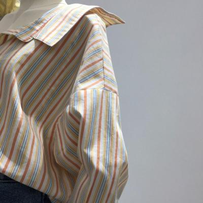 2020 Fashion Spring and Summer Korean Irregular Stripe Shirts Cotton Streetwear Ruffles Patchwork Turn-Down Collar Shirts