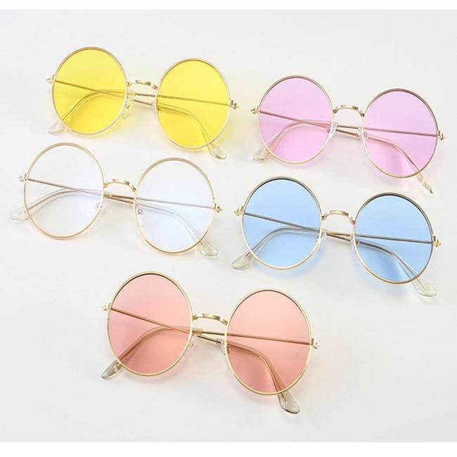 Sunglases Round novelty sunglasses women 2018 new hip hop style color lenses retro glasses summer travel trend accessories