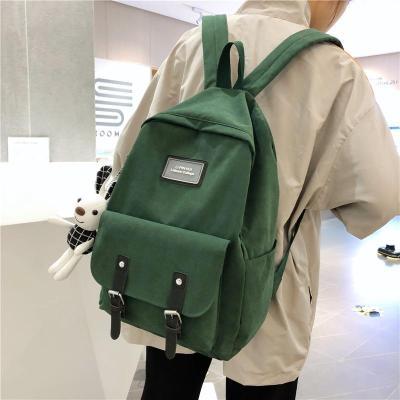Fashion Buckle Cotton Fabric Backpack Cute Women Kawaii School Bag Student Girl Backpack Harajuku Female Luxury Bags Book Ladies