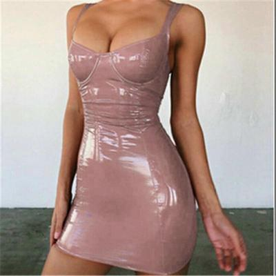 2020 Sexy Backless Club Party Short Dress Solid Black Wet Look Latex Bodycon Faux Leather Push Up Bra Mini Micro Dress Leotard