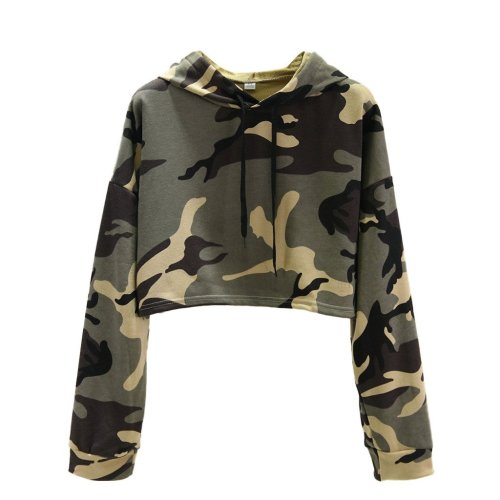 Green Camouflage Fashion Casual Hoodie Women's Long Sleeve Drawstring Sweatshirt Streetwear Short Pullover Tops Sueter#Y3