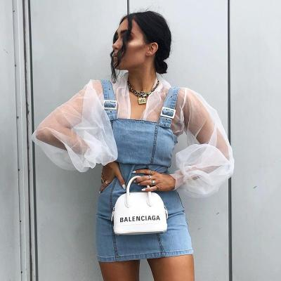 European Summer Sexy See Though Mesh Bubble Sleeve Single Breasted Blouses Tops Women Shirts New Fashion Streetwear 2020