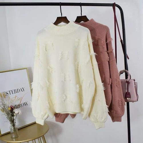 Fashion Ms. Knit Sweater Pullover Women's College Style Thicken Autumn Winter New Warm Tassel Knit Casual Student Girl