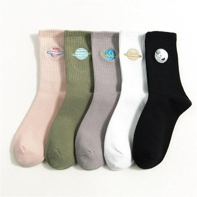 Embroidered Crew Cotton Women Socks 2020 Autumn Winter New Trend Motion Solid Color Cute Planet Fashion Style Socks Women