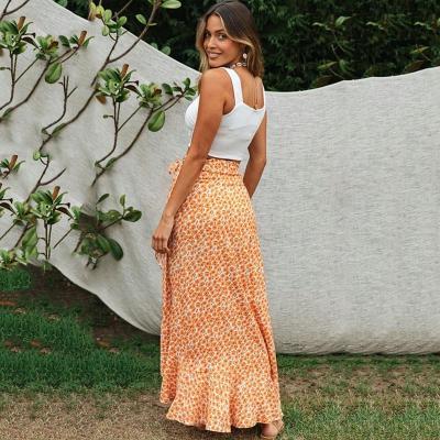 Casual boho maxi wrap skirt women 2020 ruffle slit long summer skirts sexy beach holiday print floral split skirt Bottoms