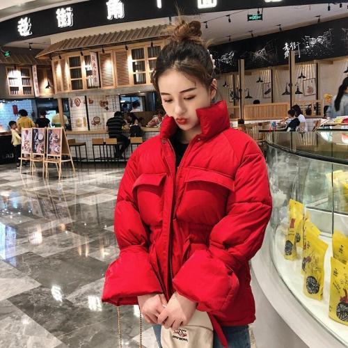 Winter Women New Korean Loose Turtleneck Front Pockets Bow Lace Up Bread Parkas Jacket Short Coats Fashion Streetwear 2020