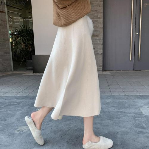 FairyShely Vintage High Waist Knitted Pleated Skirt Women 2020 Autumn Winter Casual Mid Skirt Female Korean Loose Long Skirt