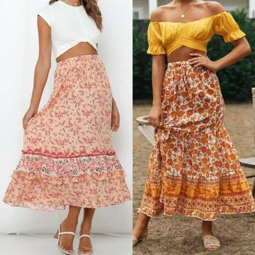 Women Boho Pleated Retro Elastic High Waist Evening Party Floral Printed Fashion Holiday Skirt Sundress