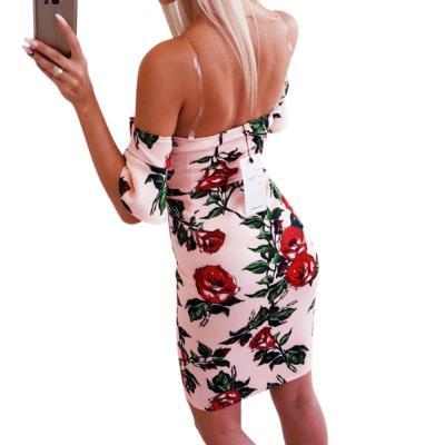 Summer Pink Women's Strap Dress Sleeveless V-neck Dresses For Women Rose Print Bodycon Backless Ruffle Ladies Dress Vestidos D30