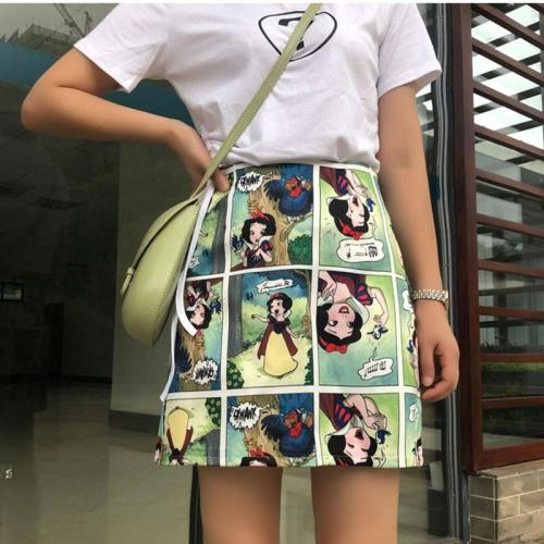 Snow White Cartoon Print Mini Skirts Summer High Waist Pencil Skirt Beach Warp Skirts Design A-Line Korean Vintage Slim Fit Sexy
