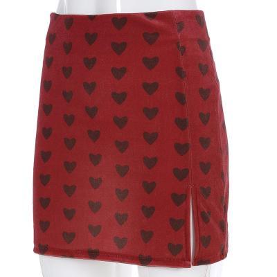Red Velvet High Waist Skirt Streetwear Heart Print Zipper Cute Skirts Womens Preppy Style A-Line Mini Skirt Harajuku 2020 spring