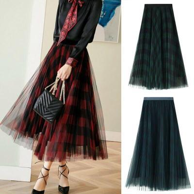 hirigin Summer Skirt Mesh Tutu Tulle Skirts Womens Elegant A Line High Waist Printed Office Ladies Pleated Long Skirt