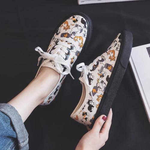 Shoes Women Spring 2020 New Canvas Girls Students Graffiti Shoes Kitty Cartoon Cat Korean Edition Ins Style White Shoes A35-81