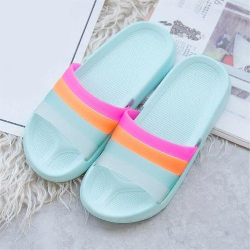 Women Summer Rainbow Slippers Girls Non Slip Soft Beach Ladies Slides Flats Shoes Home Woman Slipper Outdoor Footwear 2020 New