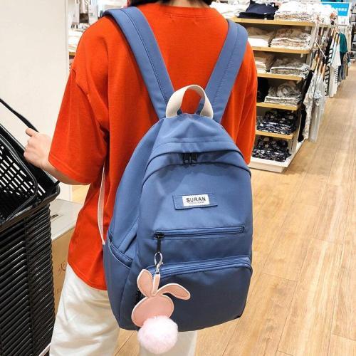 Student Female Hairball Pendant Backpack Cute Rabbit Women School Bags Girls Nylon Kawaii Backpack Small Ladies Teenage Bag Book