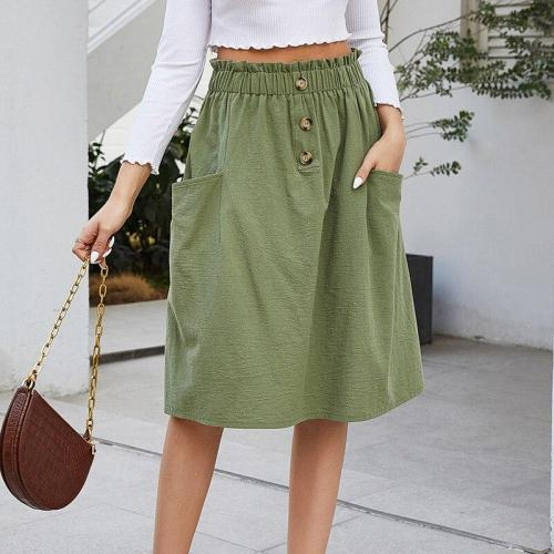 Foridol Casual Button Ladies Skirt Female Elegant Office Midi Skirt Pockets Ruffle High Waist Green Cotton Skirt Faldas autumn