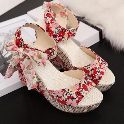 Summer Beach Boho Floral Wedge Sandals Women Ankle Strap Platform Gladiator Shoes Woman High Heels Sandalias Mujer 2020