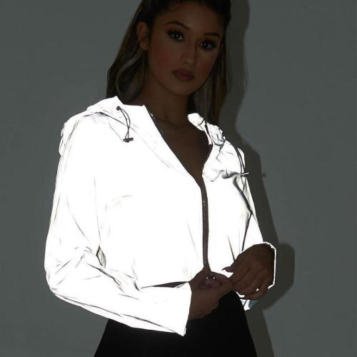 Reflective Jacket Women 2020 Flash Short Hooded Coats Night Glowing Short Jacket Zipper Women Reflective Hooded Jackets